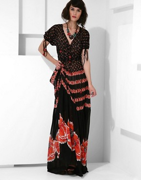 Jaeger Poppy Print Silk Tiered Maxi Dress + Slip at ASOS :  short sleeves designer dress slip
