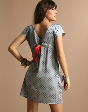 Happie Loves It | Happie Loves It Bow Back Pocket Dotty Dress at ASOS from asos.com