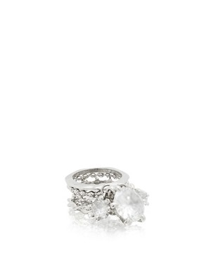 ASOS | ASOS Stacked Stone Encrusted Drop Ring at ASOS :  drop asos at stacked