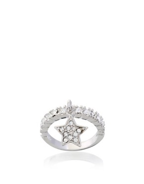 ASOS | ASOS Stone Encrusted Star Charm Drop Ring at ASOS