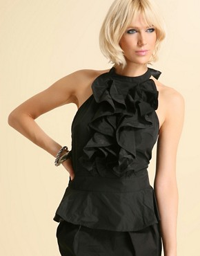 Tuxedo Ruffle Top at ASOS from asos.com