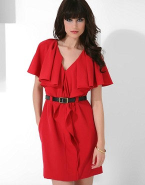 Black Halo Ruffle Front Dress at ASOS :  ruffle dress red dress style