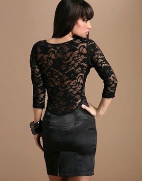 Lace Overlay Dress :  mini dress sexy open back