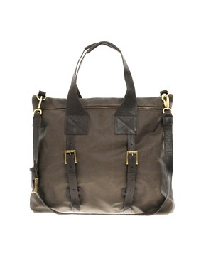 Jas M.B. Waxed Canvas and Leather Medium Shopper Bag