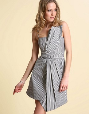 Karen Millen | Karen Millen Folded Stripe Taffeta Dress at ASOS :  modern gown collection chic