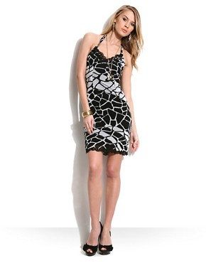 Class Roberto Cavalli Giraffe Print Mesh Halter Dress at ASOS :  fashion animal print halter mesh