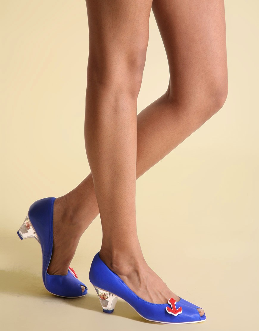 Miss L-Fire | Miss L-Fire Anchor Brooch Mid-Heel Court at ASOS :  blue heels shoes sailor