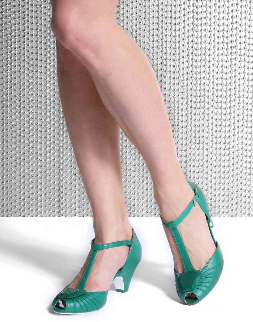 Miss L-Fire | Miss L-Fire Mid Heel Gem T-Bar Shoe at ASOS :  pumps mid-heel stone retro