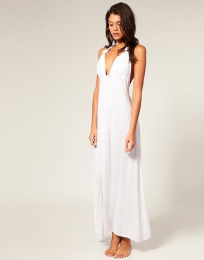 ASOS Jersey Grecian Maxi Beach Dress with Padded Cups :  fashion halterneck dress maxi