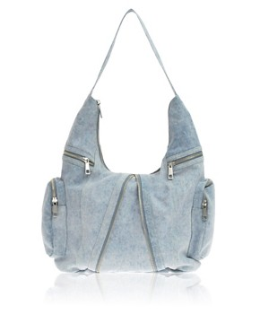 ASOS | ASOS Washed Denim Slouch Bag at ASOS :  chic womens accessories clothing womens clothing