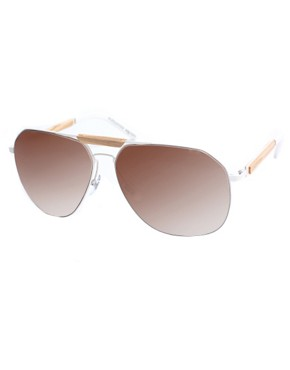 Alexander McQueen Wood Detail Aviator Sunglasses