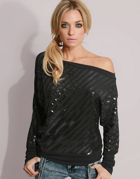 Killah Sequin Striped Off Shoulder Top 