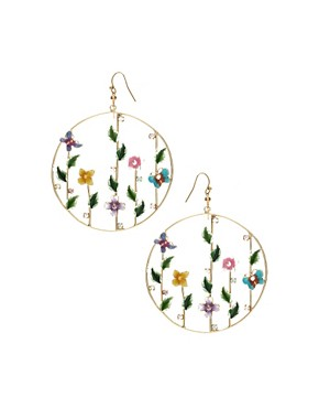 ASOS | ASOS Summer Garden Hoop Drop Earrings with Rhinestone and Enamel at ASOS :  stylish trends designers womens