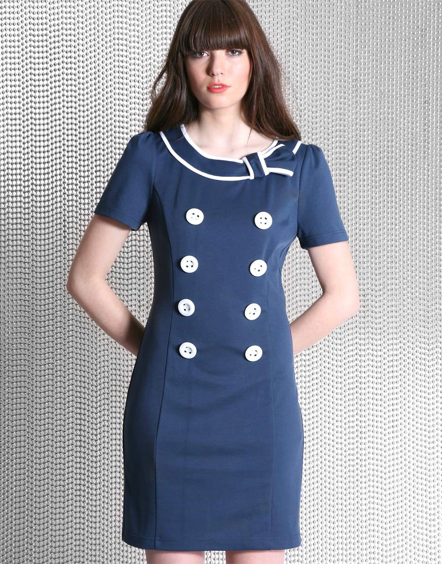 Dahlia | Dahlia Nautical Tie Collar Dress at ASOS :  short sleeves retro tie collar sailor