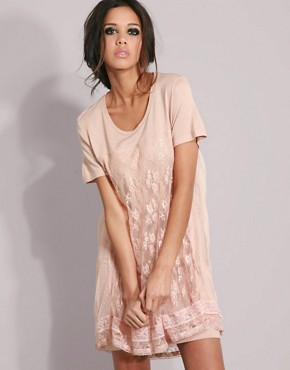 Diesel Lace Layered T-Shirt Dress :  lace designer dress tee