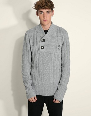 Religion Shawl Collar Cable Knit Jumper