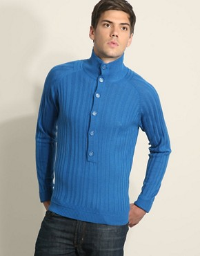 Junk De Luxe Quit Ribbed Button Neck Jumper