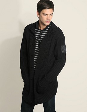 Firetrap Buckley Chunky Long Knit Cardigan