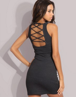 Micro Mini Criss Cross Back Panel Vest Dress at ASOS :  mini dress sexy grey