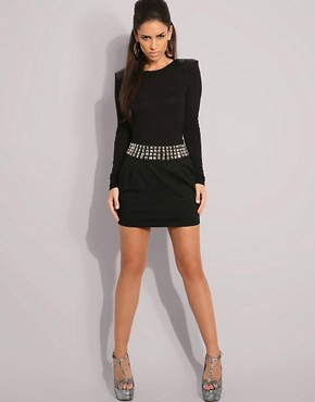 ASOS | ASOS Studded Waistband Jersey Skirt at ASOS :  black dress sexy dress studs studded belt