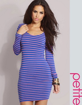 ASOS | ASOS PETITE Long Sleeve Stripe Shoulder Pad Jersey Dress at ASOS :  tight dress stripped dress jersey dress clothing