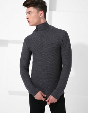 Raf By Raf Simons High Neck Rib Jumper