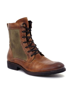 ASOS Waxed Canvas Insert Leather Boots