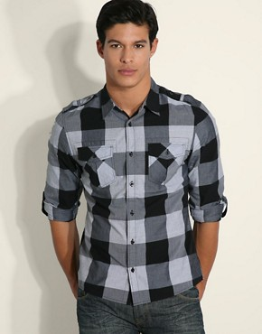 ASOS Military Check Roll Up Sleeve Shirt