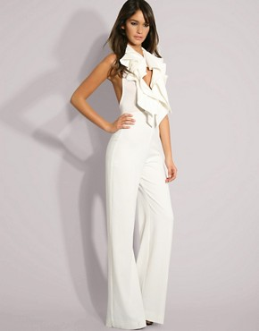 Aqua Couture Low Neck Ruffle Stretch Jumpsuit