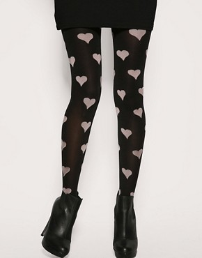 ASOS Black Tights With Large Pink Hearts